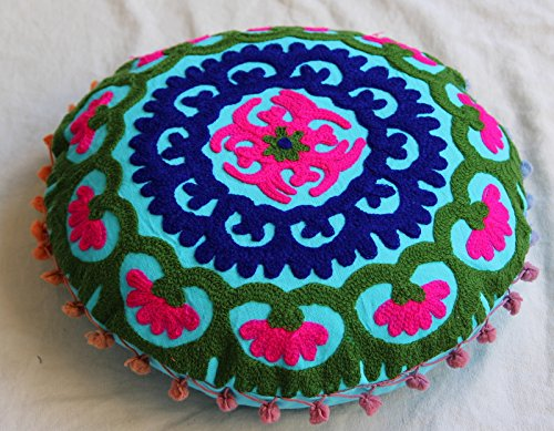 HANDICRAFTOFPINKCITY Indian Suzani Round Cushion Cover Handmade Cotton Pouffe Vintage Pillow Case Ottoman Cover