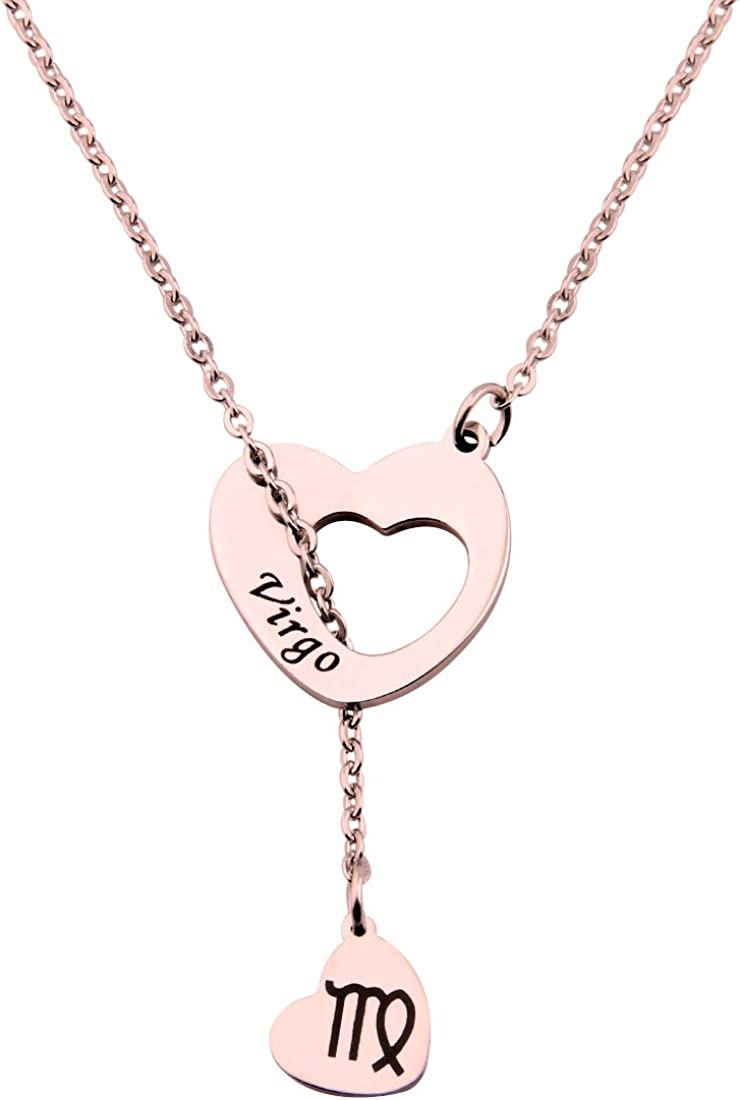 ENSIANTH Max 78% OFF Branded goods Rose Gold Zodiac Signs Steel Heart Necklace L Stainless