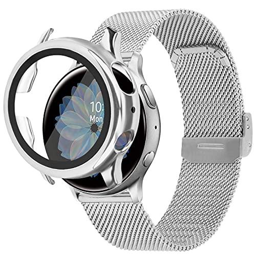 VISOOM Compatible con Galaxy Watch 42 mm, Active 2 40 mm 44 mm, pulsera de metal Milanese de acero inoxidable pulsera de reloj de pulsera, 40mm,
