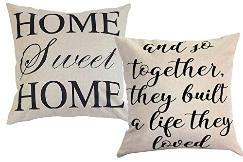 FOOZOUP Farmhouse Style Decorative Throw Pillow Case Cushion Cover 18' x 18' for Sofa Couch Home Sweet Home Cotton Linen and So Together They Built a Life They Loved