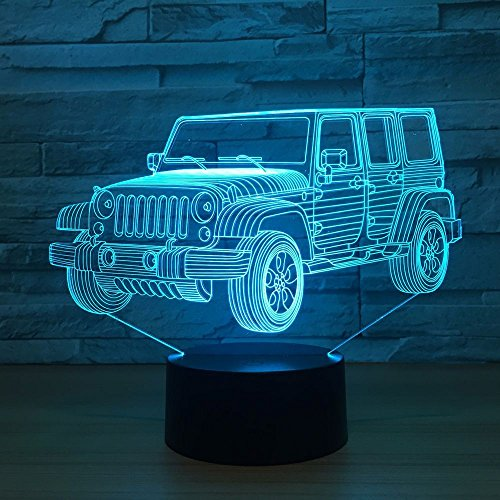 Toy Jeep Night Lights Car Gifts for Kids Birthday 3d Illusion SUV Desk Lamp Optical Desk Table Touch Home Decoration Children Bedroom Decor 7 color Change for Boys Car Lover Fans