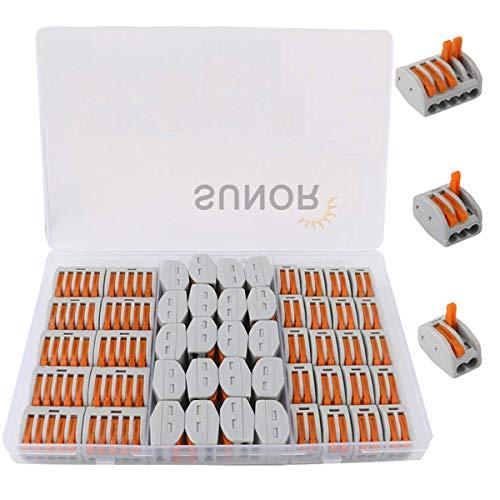 SUNOR Conectores De Cable Compacto, 60 Piezas Conectores Eléctricos Rapidos Palanca, Conector Conductor Compacto Ampliamente Utilizado en la Industria, IluminacióN, Seguridad, Comunicaciones y Redes.