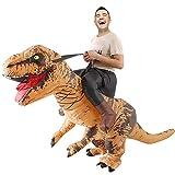 恐竜コスプレ 半身 恐竜着ぐるみ コスチューム ライダー服恐竜 大人用 男女共用 怪獣 空気充填 膨張式 ハロウィーン パーティー 衣装セット パーティー (ブラウン)