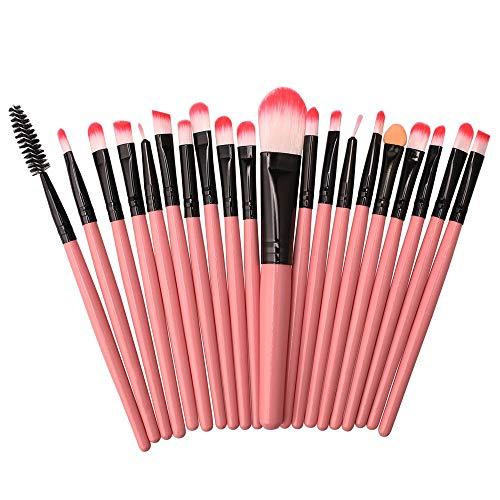 Pinceaux Maquillage Set 20 jeux de pinceau, portable, tube rose