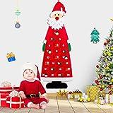 Calendario dell'Avvento di Babbo Natale, Calendario da appendere a parete di Natale Calendario da pupazzo di neve con 24 tasche Tessuto riutilizzabile da appendere Natale Decorazioni natalizie a casa