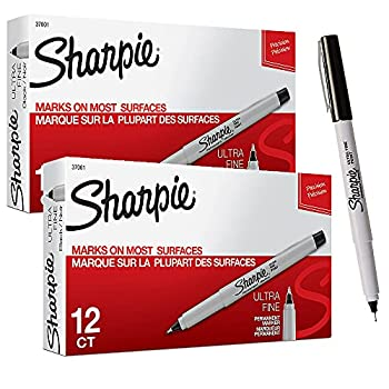 Sharpie Permanent Markers Ultra Fine Point Black 12 Count - 2 Pack