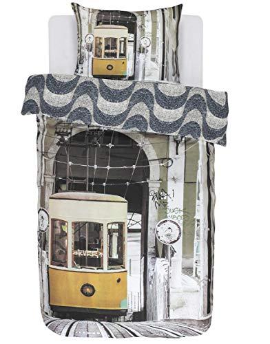 Covers & Co. Wendebettwäsche Lisboa Renforcé grau-braun-blau Größe 135x200 cm (80x80 cm)