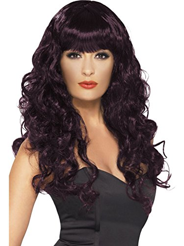 Womens Long Curly Fringe Black & Red Plum Glamour Devil Witch Fancy Dress Wig PLUM