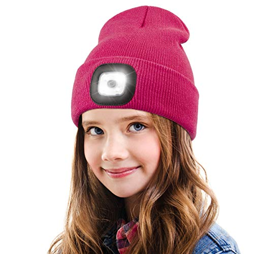 LED Beanie Hat with Light for Kids,Unisex USB Rechargeable Hands Free 4 LED Headlamp Cap Winter Knitted Night Lighted Hat Flashlight Boys Girls Gifts (Rose red)