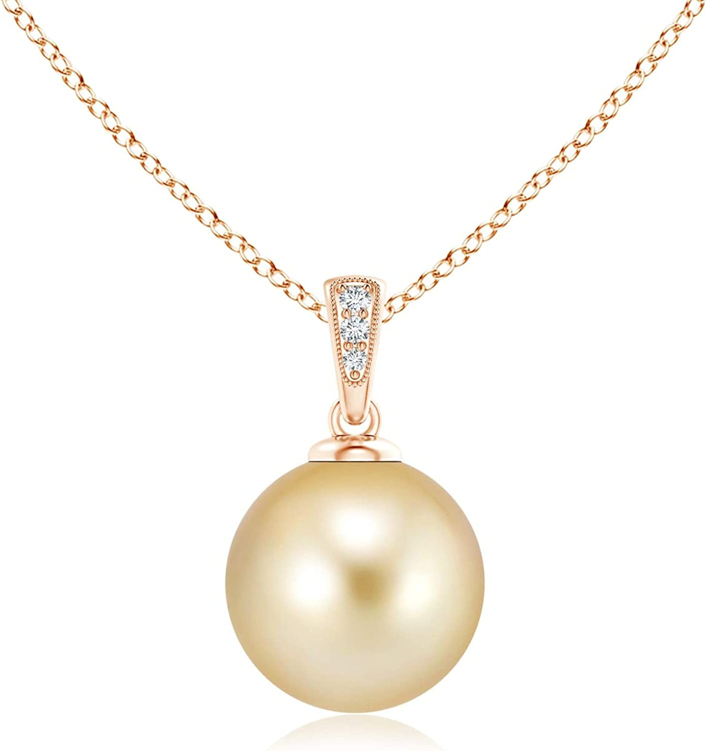Golden Lowest price challenge South Sea Regular discount Cultured Pearl Gold Pendant 10mm Diamonds with