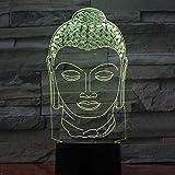 Lámpara de Buda Lámpara de noche que cambia de color Ambiente 3D Luz de bombeo LED 3D Ilusión visual Amigos Regalo Fiesta Deco
