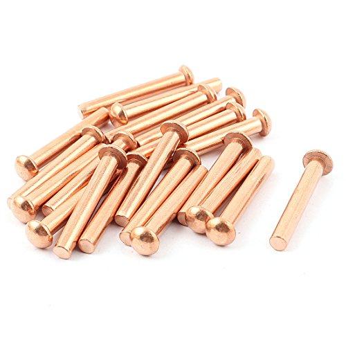 uxcell a15091700ux045420PCS 3/40,6cm D 13/20,3cm L Schaft Rund Kopf Kupfer massiv Nieten gurthalteband de