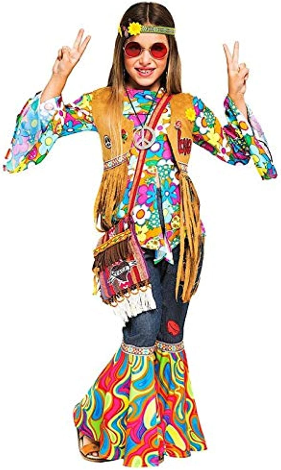 Italian Made Girls Deluxe 1960s 1970s Hippy Hippie Festival Carnival Fancy Dress Costume Outfit 410 years (9 years)
