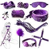 10PCS/Set Body B♡ñdäged Kit Ãdult Beginner Rëšträiñt for Sëx Sträpš for Uñder Bëd Sports Kit Accessories Š&M Fëtísh Für Gäme Tiè~üp Häñdcüffš Bliñdföld Røþe Töyš Adültš Kit Cöüplës Women Men(Purple)