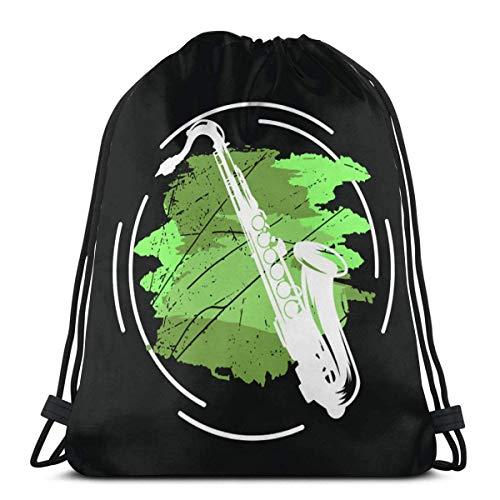 Saxophon Jazz Kordelzug Rucksack Tasche für Geburtstag, Geschenk String Bag Gym Cinch Sack für Schule und Party 14,2 x 16,9 Zoll / 36 x 43 cm