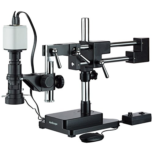 AmScope H800-DAB-96S-HD1080 Industrial Inspection Zoom Monocular Microscope with Double Arm Stand and 1080p HDMI Camera