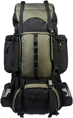 AmazonBasics Internal Frame Hiking Camping Rucksack Backpack with Rainfly - 18 x 8 x 37 Inches, 75 Liters, Green