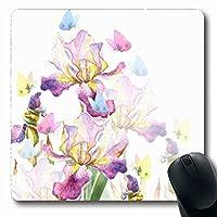 マウスパッド花紫スケッチ水彩アイリス蝶手抽象誕生日花植物長方形形状滑り止めゲームマウスパッドゴム長方形マット 18x22cm