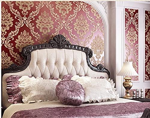 Papel pintado no tejido Lujo europeo espolvoreado dorado Damasco-vino tinto,Papel Pintado,Pegatinas murales,para Cocina,Dormitorio,Sala de Estar0.53m*9.5m