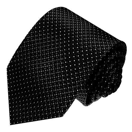 Lorenzo Cana - Designer Krawatte aus 100% Seide - Markenkrawatte schwarz Punkte klein weiss - 84576