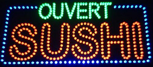 Panneau Enseigne lumineuse à LED SUSHI OUVERT 60x30x2.5cm