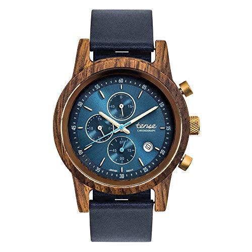 TENSE Cambridge Holzuhr Lederarmband Herrenuhr Chronograph Teak Armbanduhr für Herren 40mm Holz Quarz analog B4703T-BL-NA