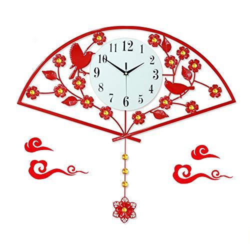 Reloj pared lujo con luz creativa, reloj de pared hierro en forma abanico chino con péndulo,reloj pared arte silencioso,decoración del reloj de pared del dormitorio de la sala estar del hogar,Rojo