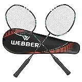 LINGSFIRE Sets de Badminton, Paquet de 2 Raquettes de Badminton Professionnelles Légères en Fibre de Carbone avec Surgrip Enveloppé,...