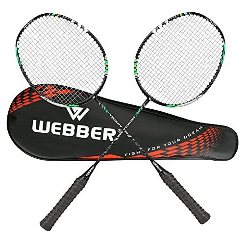 LINGSFIRE Sets de Badminton, Paquet de 2 Raquettes de Badminton Professionnelles Légères en Fibre de Carbone avec Surgrip Enveloppé, avec Housse de Protection pour Femmes Hommes Adultes (Vert)