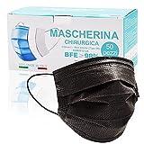 Mascarilla_Negra_50 Piezas Made In Italy, BFE≥98%, Mascarillas_Homologadas_Para Adultos, Mascarillas_Homologadas_3 Capas De Tipo IIR Con Certificado CE, Transpirables Y Cómodas