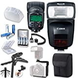 Canon Speedlite 470EX-AI Flash with Canon Speedlite Case + TTL Cord + Flash L-Bracket Grip + Flexible Steady Pod + 4 High Capacity AA Rechargeable Batteries & Charger + Accessory Bundle