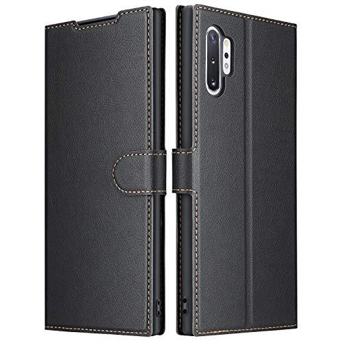ELESNOW Hülle für Samsung Galaxy Note 10 Plus/Note 10+ / 5G, Premium Leder Flip Wallet Schutzhülle Tasche Handyhülle für Samsung Galaxy Note 10 Plus/Note 10+ / 5G (Schwarz)