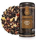Teabloom Organic Black Tea, Sweet Vanilla Chai Loose Leaf Tea, Rich and Spicy Vanilla-Scented Blend, Exceptional USDA and EU Organic, Fresh Whole Leaf Blend in Reusable Gift Canister, 3.53 oz/100 g Canister Makes 35-50 Cups