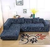 2 Fundas de sofá en forma de ele, tela de poliéster spandex + 2fundas de almohada para sofá