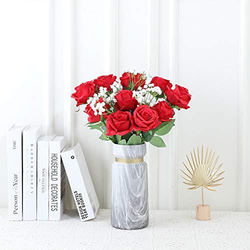 JUSTOYOU 10 Pack Künstliche Seide Rose Blumen Hochzeit Sträuße(rot) - 2