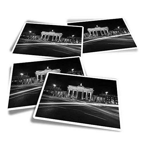 Pegatinas rectangulares de vinilo (juego de 4) – BW – Brandenburg Gate Berlin divertidos adhesivos para ordenadores portátiles, tabletas, equipaje, reserva de chatarra, frigoríficos #38942