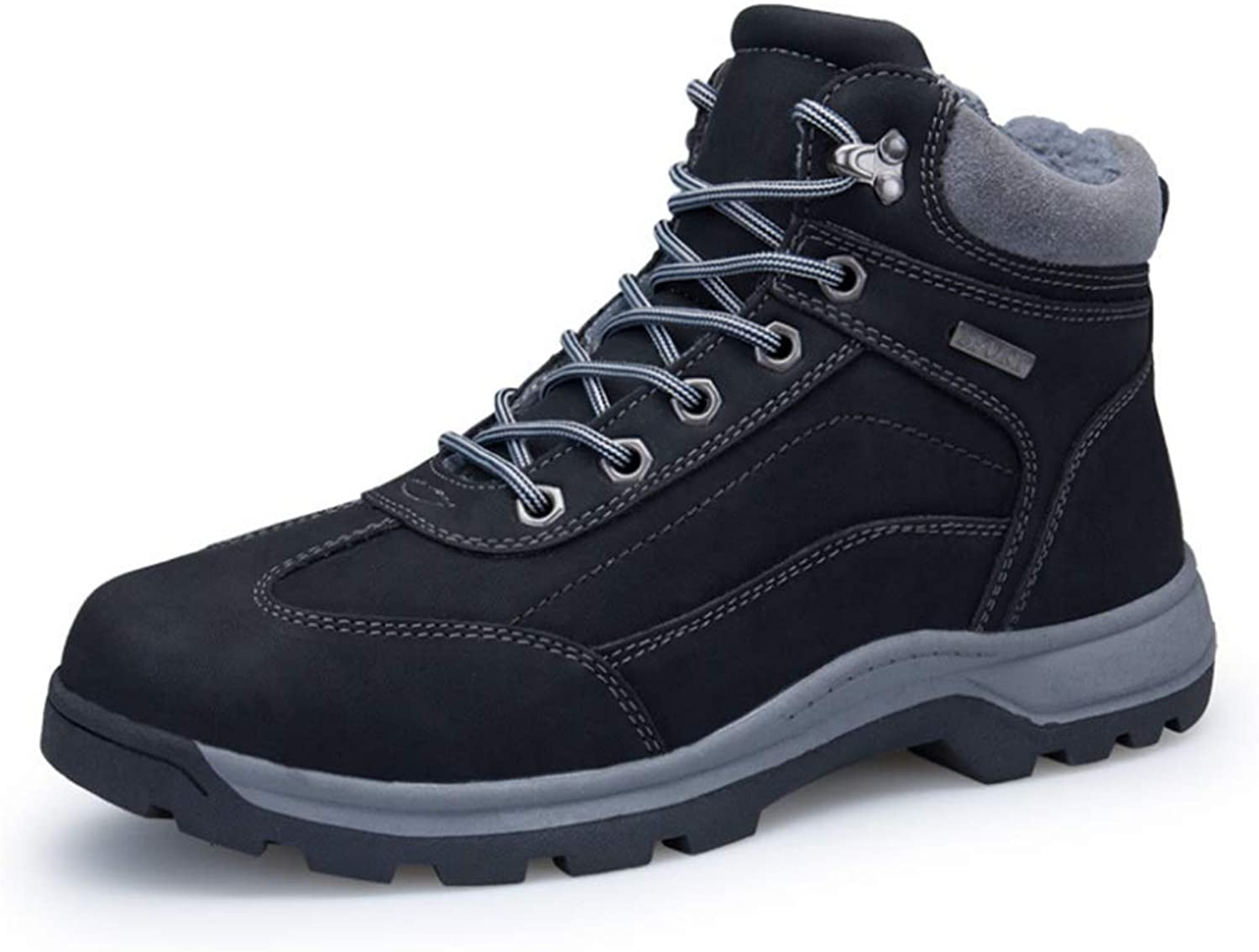 Mens Womens Snow Boots Winter Warm Ankle Boots Anti-Slip Leather Waterproof Safety Boots Work shoes for Walking Hiking Outdoor (color   Black, Size   8 US)