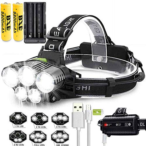 50000LM T6 LED Rechargeable Headlamp Head Light Torch Lamp Dual Charger With 2x18650 9800mAh Batteries