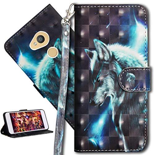 HMTECH Sony Xperia L2 Hülle 3D Süßes Wolf Flip Standfunktion Karten Slot Magnetverschluß Brieftasche Taschen Schalen Handy Ledercase für Sony Xperia L2,Wolf