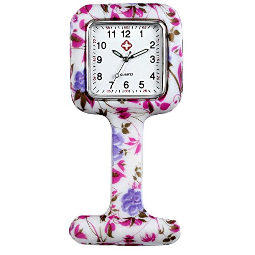 Lancardo Reloj Médico de Doctor Enfermera Prendedor de Broche de Silicona Reloj de Bolsillo con Dibujos Multicolores Movimiento de Cuarzo Original con Clip Colgar en Uniforme Paramédico (Blanco)
