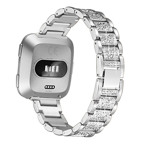 bayite Bling Bands Compatible Fitbit Versa, Metal Bracelet Replacement Band Wristband Accessories Strap for Women, Silver