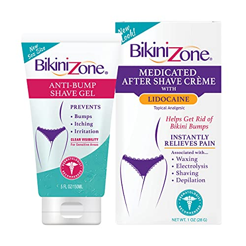 Bikini Zone Anti-Bump Shave Gel (5 oz) & Medicated After Shave Creme (1 oz)