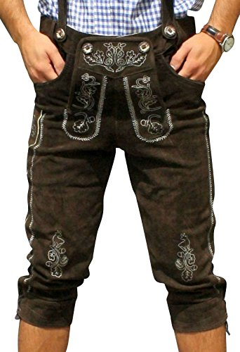 Trachten Lederhose aus echtem Leder Kniebundhose Größe 46-60 (48, Dunkelbraun)
