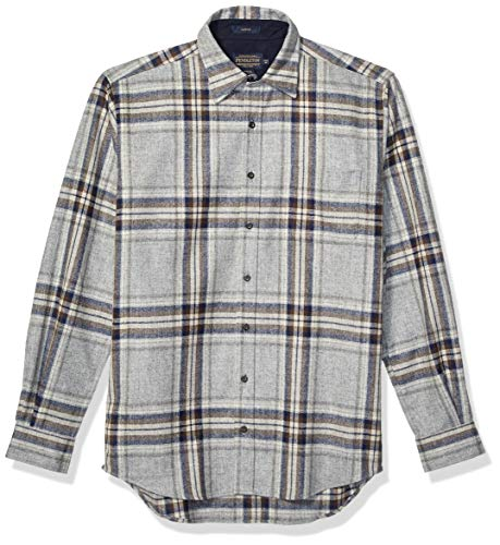 Pendleton Men's Size Long Sleeve Button Front Tall Lodge Shirt, Grey/Blue Multi, XL
