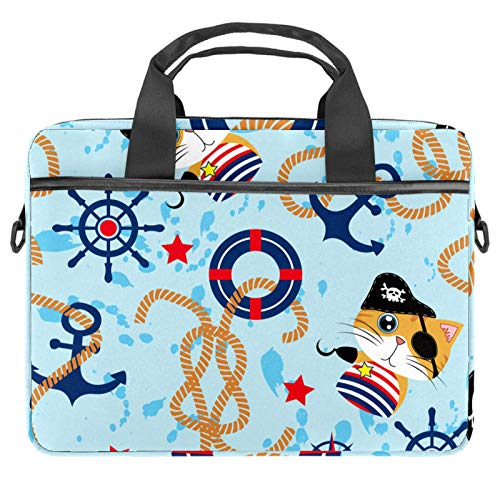 Laptop Bag Funny Pirate Cat Nautical Anchor Compass Notebook Sleeve with Handle 13.4-14.5 inches Carrying Shoulder Bag Briefcase
