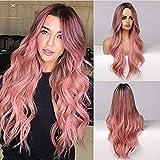 TANTAKO® Peluca Largo Ombre Rosa -Pink Wig Synthetic Hair Wigs Wavy Ombre Dark to Pink Ombre Wig