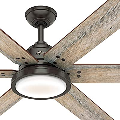 Hunter Fan 60 inch Casual Noble Bronze Indoor Ceiling Fan with Light Kit and Remote Control (Renewed)