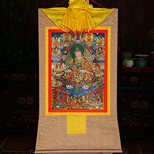 Gandhanra Tapiz budista tántrico tibetano para colgar en la pared, ocho formas de gurú Rinpoche, Lotus Born, estampado en caliente, para decoración del hogar Zen (beige, pequeño (35 x 27 cm)