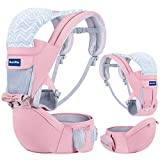 BabyPro Baby Carrier with Hip Seat, 9 Ergonomic Positions, All Season Baby Sling for Newborns Infants Toddlers, Baby Carrier Wrap Backpack for Traveling and Breastfeeding (Pink)