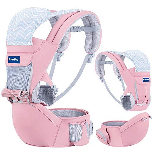 BabyPro - Portabebés con Asiento de Cadera con 9 Posiciones Ergonómicas, para Todas las Estaciones, para Bebés recién nacidos, Paseos y Viajes (Rosado)